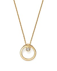 Roberto Coin 18K Yellow Gold Small Circle With Diamond Pendant Necklace 16