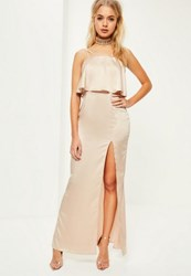 Missguided Nude Silky Double Layer Maxi Dress