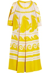 Vionnet Pleated Chiffon Paneled Printed Silk Tunic Yellow