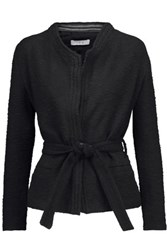 Iro Teby Leather Trimmed Cotton Blend Boucle Jacket Black