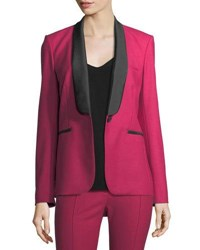 Veronica Beard Keaton Single Button Shawl Lapel Tuxedo Blazer Fuchsia