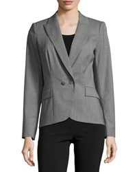 Lafayette 148 New York Lupita Two Button Twill Blazer Nickel