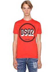 Dsquared Printed Very Very Dan Fit Cotton T Shirt Coral
