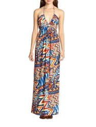 T Bags Los Angeles Timeless Printed Stretch Jersey Halter Maxi Dress Orange Multi