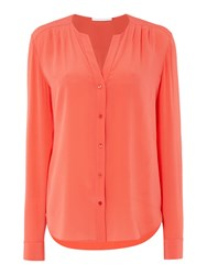 Hugo Boss Rosaline V Neck Washed Silk Blouse Pink