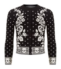 Alexander Mcqueen Floral Jacquard Stretch Knit Cardigan Female Black