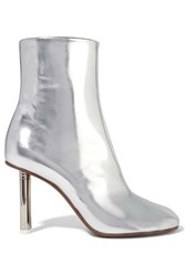 Vetements Metallic Leather Ankle Boots Silver