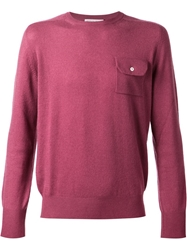 Michael Bastian Buttoned Flap Pocket Sweater Pink And Purple
