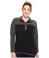 Columbia Plus Size Mountain Side Pullover Grill Black Women's Long Sleeve Pullover Gray