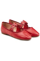 Red Valentino Leather Ballerinas With Stud Embellishment Red