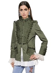 Ermanno Scervino Frilled Stretch Cotton Canvas Jacket