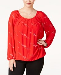 Ny Collection Plus Size Embellished Blouson Top Red Disco Dot