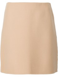 Theory Short Straight Skirt Nude Neutrals