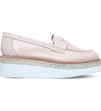 Carvela Laughter Leather Flatform Loafers Nude