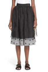 Jupe By Jackie 'Suton' Floral Embroidered Layered Skirt Black