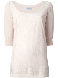 Blumarine Lace Detail Sweater Nude And Neutrals