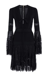 Elie Saab Knit Mini Dress With Lace Bell Sleeves Black