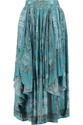 Etro Crinkled Printed Silk Chiffon Midi Skirt Blue