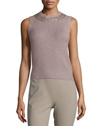 Ralph Lauren Embellished Jewel Neck Cashmere Shell Light Mauve Women's