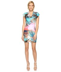 Just Cavalli Palm Print Fitted Short Sleeve Dress Multicolor Variant