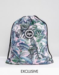 Hype Exclusive Pastel Garden Palm Print Drawstring Backpack Multi