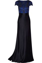 Catherine Deane Lace Paneled Satin Gown Blue