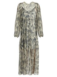 Zimmermann Adorrn Bird Chintz Print Silk Chiffon Dress Grey Multi
