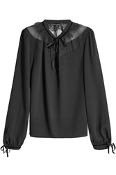 Tara Jarmon Blouse With Tulle Lace Black