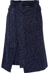 Sibling Leopard Print Brushed Cotton Twill Wrap Skirt Indigo