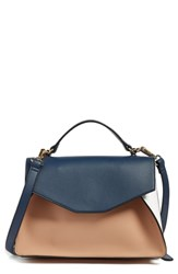 Leith Colorblock Faux Leather Satchel Blue Navy Camel