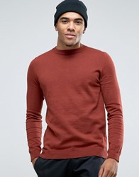 New Look Crew Neck Jumper In Rust Rust Orange
