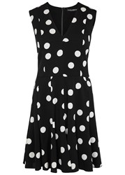 Dolce And Gabbana Black Polka Dot Stretch Silk Mini Dress Black And White