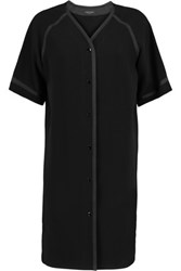Rag And Bone Varsity Grosgrain Trimmed Crepe Shirt Dress Black