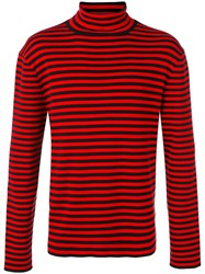 Gucci Striped Turtleneck Top Men Cotton L Red