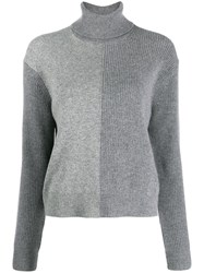 Theory Two Tone Knitted Jumper Grey