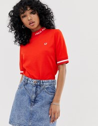 Fred Perry High Neck Logo Tee Red