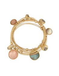 Kenneth Cole Mixed Shell Circle Charm Stretch Bracelet Set Of 4 Gold