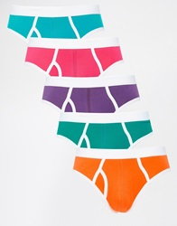 Asos 5 Pack Briefs With Contrast Trim Multibrights