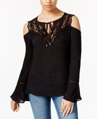 Thalia Sodi Crocheted Cold Shoulder Peasant Top Only At Macy's Deep Black