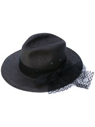 Maison Michel Bow Detail Hat Women Straw M Black