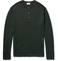 Club Monaco Merino Wool Silk And Cashmere Blend Henley Sweater Forest Green