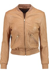 Halston Quilted Leather Bomber Jacket Brown