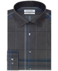 Calvin Klein Steel Non Iron Slim Fit Empire Blue Checked Performance Dress Shirt