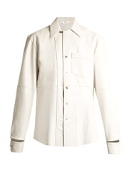 Blouse Lex Deconstructed Leather Shirt White