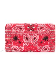 Coohem Knit Tweed Bandana Wallet Cotton Calf Leather Polyester Red