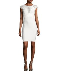 Herve Leger Mesh Inset Cap Sleeve Bandage Dress White