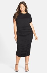 Plus Size Women's Vince Camuto Side Ruched Midi Dress Black