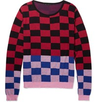 Haider Ackermann Oversized Checked Cotton And Cashmere Blend Sweater Red