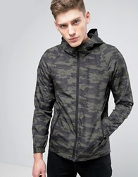 Only And Sons Light Weight Hooded Jacket In Camo Print Green