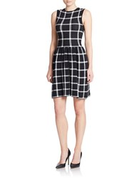 4 Collective Plaid Fit And Flare Dress Black White
